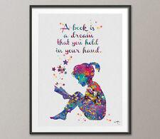 Lettore Ragazza Amante Dei Libri Libreria di stampa acquerello ARTE Citazione Motivazionale per bambini