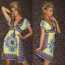 Fashion Yellow Women Summer Mature & Retro Sleeveless Beach Boho Maxi Sundress