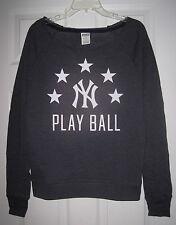 NWT VICTORIA'S SECRET PINK MLB NEW YORK YANKEES S VINTAGE CREW SWEATSHIRT TOP
