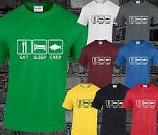 EAT Sleep CARPE UOMO T SHIRT pesca pesca sportiva regalo S, M, L, XL, XXL, 3XL