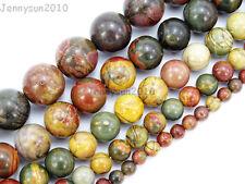 Natural Picasso Jasper Gemstone Round Beads 4mm 6mm 8mm 10mm 12mm 14mm 16'' Pick