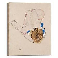 Schiele nudo con calze blu design quadro stampa tela dipinto telaio arredo casa