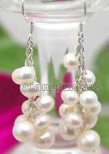 "SALE GENUINE 6-7mm white Natural pearl 2"" Grape Dangle earring hook -ear111"