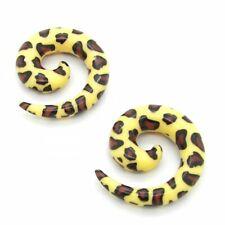 Set Dehnspirale Dehnstäbe Piercingschmuck Dehner Plug Tunnel Leopard Gelb Muster