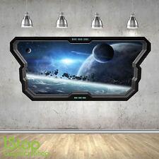SPACE WALL STICKER WINDOW 3D LOOK - MOON PLANET GALAXY STARS BOYS BEDROOM Z367