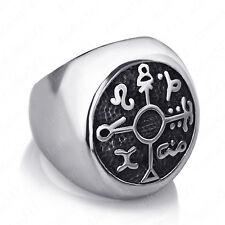 Magic Symbol 316L Stainless Steel Ring Protection Seal of Solomon Kabbalah Mens