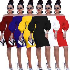 Women Sexy Off Shoulder Lantern Sleeve Slash Neck Knee Length Midi Penci Dresses