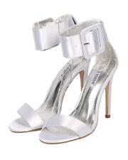 New Women Cape Robbin Suzzy-42 Satin Open Toe Ankle Cuff Stiletto Sandal