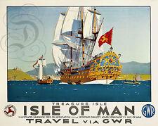 REPRO DECO AFFICHE ISLE OF MAN TRAVEL VIA GWR TREASURE ISLE BATEAU BOAT MER SEA