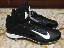 NEW Mens 8.5 11.5 NIKE Huarache Strike Mid Black Wh Metal Spikes Baseball Cleats
