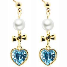 Romantic Hearts Bow Aqua Light Blue or Pink Drop Dangle Women Jewellery Earrings