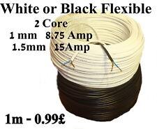 2192Y Corrente Cavo Elettrico 2 Nuclei 1mm-1.5mm Bianco o Nero Flessibile