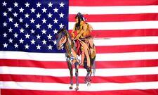 Indian on Horse US Flag 3x5 ft USA America Native American Horseback Riding