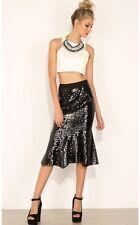 Sequinds Mermaid Midi Skirt Black S 8 10 Party Cocktail Vintage Look Club Peplum