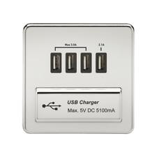 1g Sin Rosca Cromo Pulido Cuadrada USB 5v Cargador Carga Plato MUELLE móvil