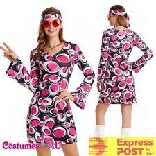 Womens 60s 70s Retro Hippy Costume Disco Girl Dancing Groovy Fancy Dress