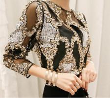 Womens Glitter Sequins Mesh Korea Tops Blouse Long Sleeve Bead Sexy Stylish Chic