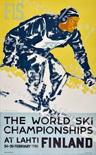 1958 World ski Championships Finlande affiche d'impression A3/A4