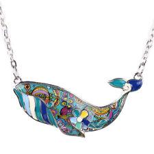 BONSNY Ocean, Sealife, Whale, Beach, Holiday,Statement Pendant Enamel Necklace