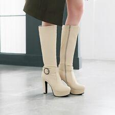 Autumn High Heels Platform Riding Boots Buckle Strap Knee High Ladies Shoes