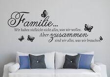 Familie zusammen Wohnzimmer Schmtterling TOP Wandaufkleber Wandspruch WandTattoo