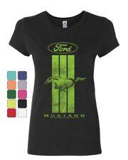 Ford Mustang Green Stripe Women's T-Shirt Classic American Muscle