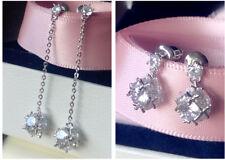 Sterling Silver Post/Long/Short Spheres Dangling Simulated Diamond Earring/E838