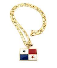 Gold Panama Panamanian Flag Pendant Charm Box Figaro Cuban Link Chain Necklace