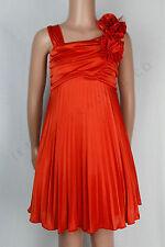 Niña Elegante Naranja Sedoso Vestido Sin Mangas Con Floral Prendedor