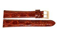Genuine Crocodile Xl Cognac Brown Gold Buckle Watch Band Strap Handmade In Italy