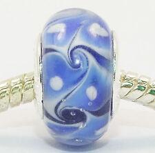 SILVER PLATED BLUE GLASS BEAD EUROPEAN CHARM  BRACELETS