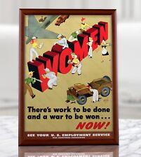 WWII American Propaganda Poster - WW2 US MIlitary Women Wall Print Reproduction