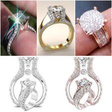 Luxury Women 925 Silver Rings Princess Cut White Sapphire Wedding Ring Size 6-10