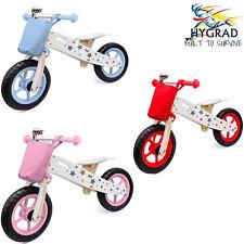 HYGRA Wooden Balance Bike Kids Running Walking Lightweight Training Bikes + Bell