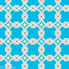GEOMETRIC MEDALLIONS 100% cotton fabric material print -112cm/44'' wide BLUE