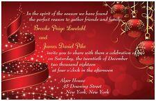 30 50 80 100 Red Tree And ORNAMENTS Christmas 5X7 WEDDING Invitation Custom