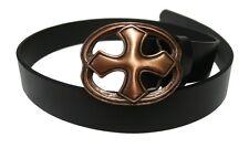GÓTICO MEDIEVAL CABALLERO Cinturón De Cuero Con Hebilla la Cruz cobre antiguo