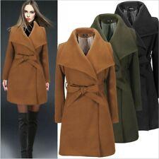 Womens Ladies Winter Long Coat Lapel Parka Slim Overcoat Jacket Warm Outwear