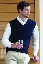 Henbury Mens Sleeveless Knitted V-Neck Jumper (HB724)