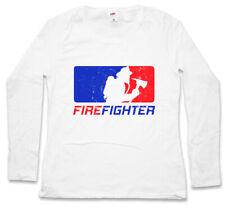 FIREFIGHTER DAMEN LANGARM T-SHIRT Fire Brigade Axe Helmet Volunteer Feuerwehr