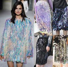 Designer Runway Iridescent Holo Fringe TIered Sequin Midi Pencil Skirt Tassel