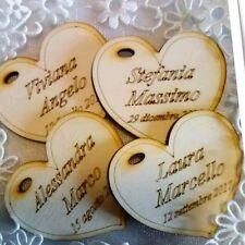 Cuore calamita legno incisione nomi data 5cm matrimonio segnaposto bomboniera