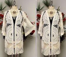 Stunning Handmande Embroidered Net Duster, Open Jacket. Trendy, Sizes S, M, L