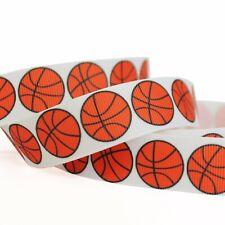 "5/10/50Y 7/8""22mm Basketball Grosgrain Cartoon Printed Pattern Ribbon Craft"