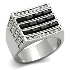 Stainless Steel Black Onyx Sapphire CZ Square  Men's  Ring SZ 8-12