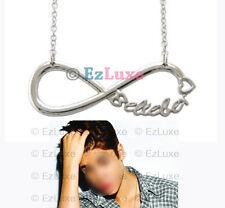 LENGTH OPTION JB Fan Club Belieber Heart Infinity Necklace charm pendant chain