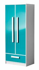 Schlafzimmerschrank Kleiderschrank Schrank 80cm weiß / Hochglanz (GU-06)