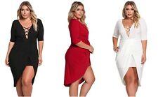 Ladies Classy Red Black Plunge Cross Strap Surplice Bodycon Dress 16 18 20 22 24