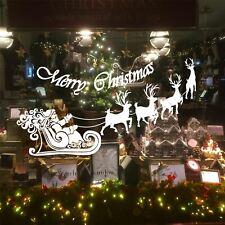 Large Santa Claus Christmas Deer Shop Window Wall Art Decoration Sticker Decal N