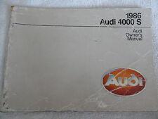 1986 Audi 4000 S Owner's Manual